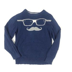 Old Navy Blue Glasses and Mustache Sweater